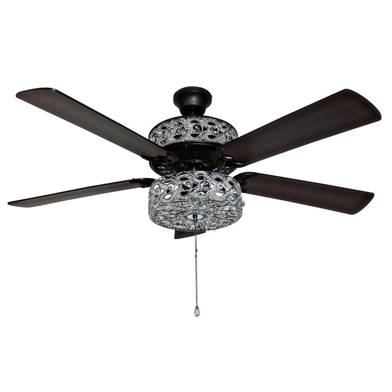 52 Nowthen Double Lit Beaded Braid Wedding Band 5 Blade Ceiling Fan With Remote Control Light Kit Included Reviews Joss Main