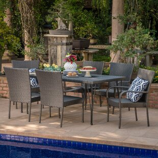 Patty Outdoor Wicker 7 Piece Dining Set