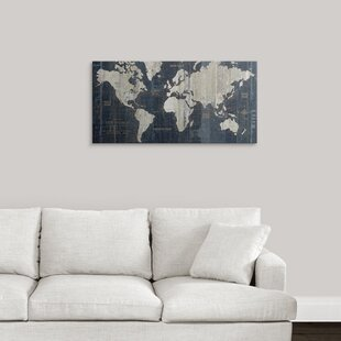 Large world map wall art youll love wayfair old world map blue graphic art print gumiabroncs Gallery