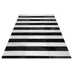 Reviews Kielek Lines Hand-Woven Cowhide Black/White Area Rug By Orren Ellis