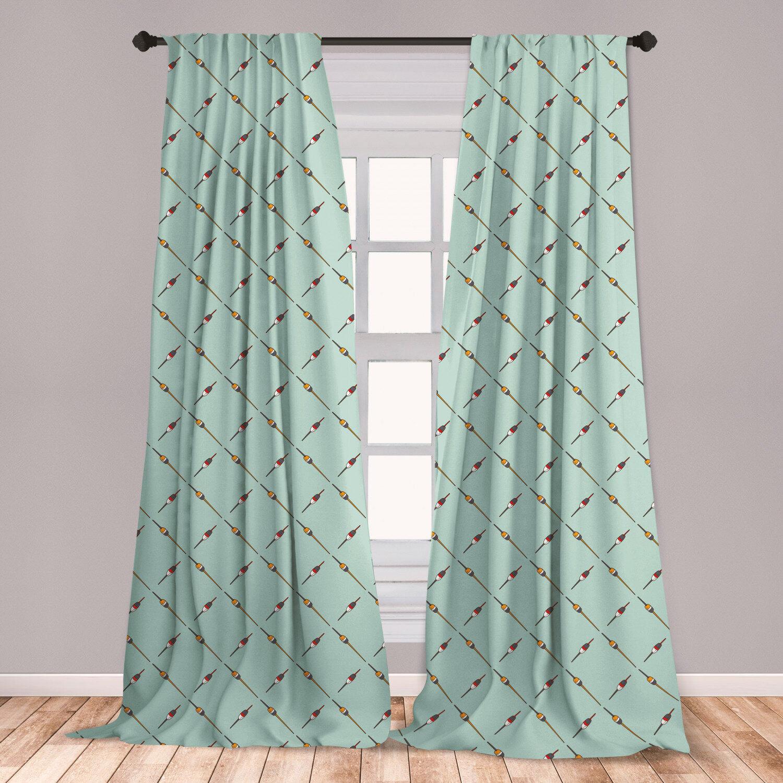 East Urban Home Fishing Geometric Room Darkening Rod Pocket Curtain Panels Wayfair