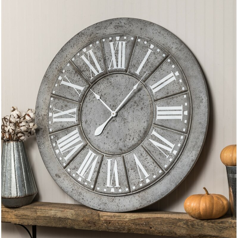 17 Stories Oversized 39 5 Quot Galvanized Wall Clock Amp Reviews