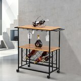 New Milford Industrial Wine Rack Kitchen Rolling Storage Bar Table Serving Trolley Bar Cart by 17 Stories
