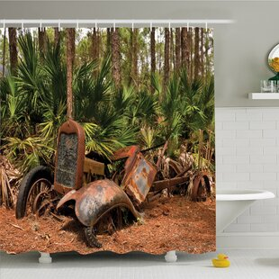 Rustic Home Rusty Tractor Mule Truck Deep in Forest with Tropical Palm Trees Image Shower Curtain Set by Ambesonne