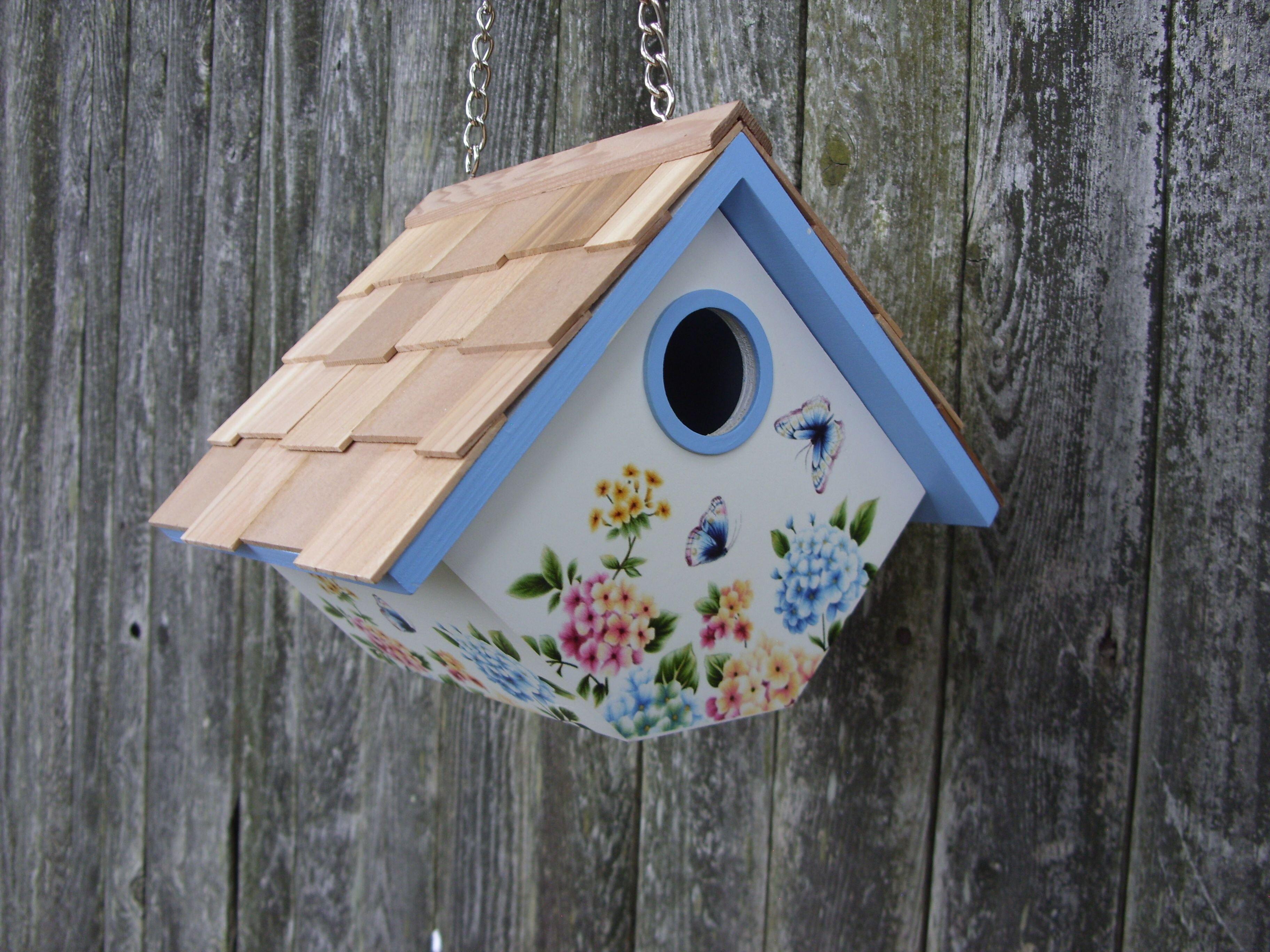 Home Bazaar Printed Hanging Wren House Hydrangea6 5in X 8 In X 6 5inbirdhouse Wayfair