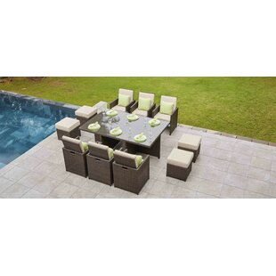 Latitude Run Lund 11 Piece Dining Set with Cushions