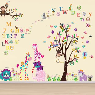 Happy Animals With Numbering And Alphabets Wall Decal