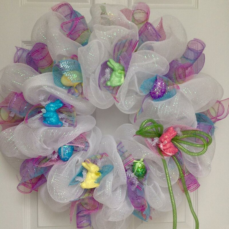 8 Pastel Polka Dot EasterSpring Egg Ribbon Wreath