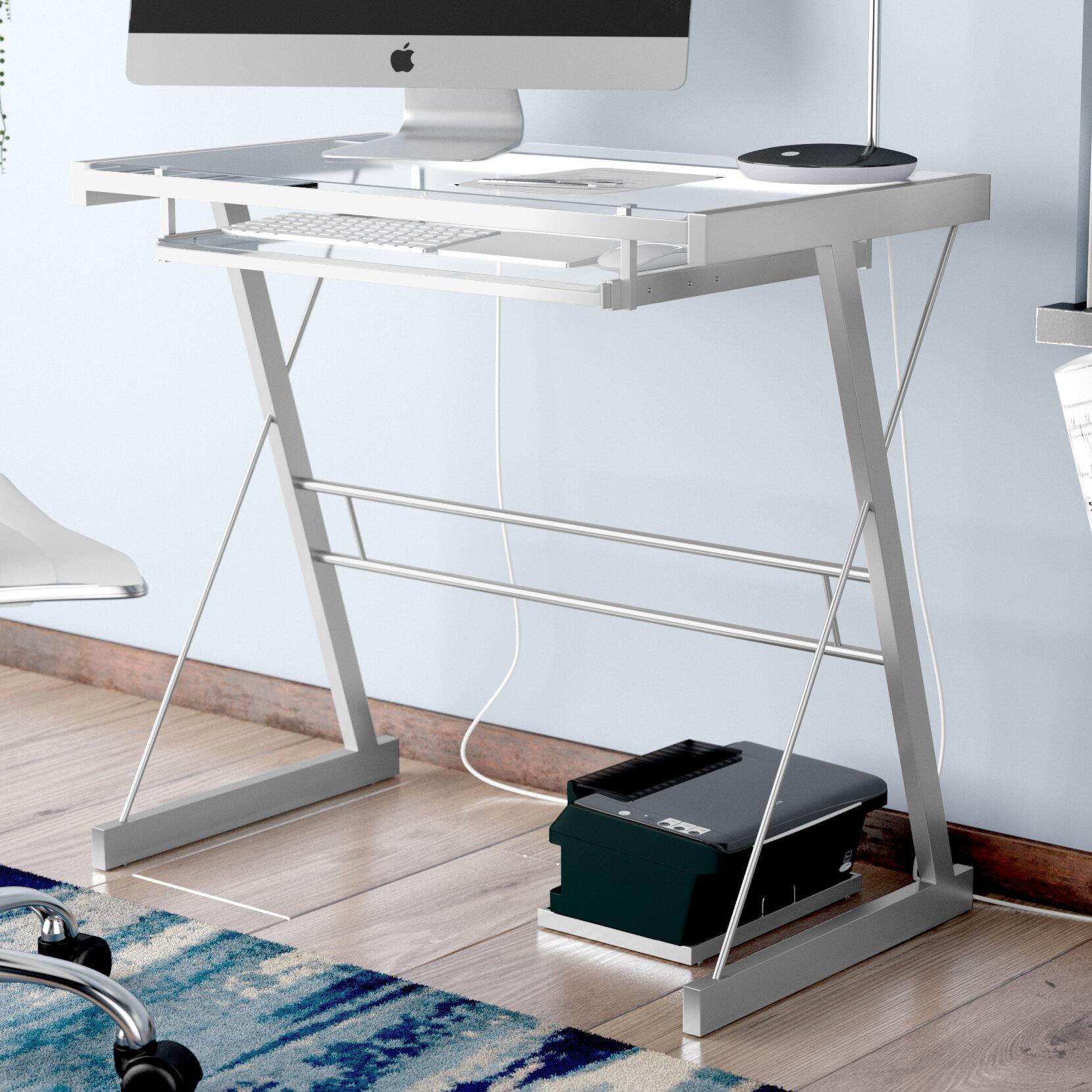 Ebern Designs Priya Metal And Glass Computer Desk Reviews Wayfair
