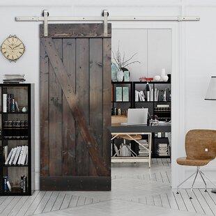 Paneled Wood Sliding Barn Door With Installation Hardware Kit