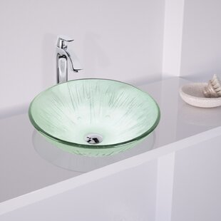 VIGO Icicles Glass Circular Vessel Bathroom Sink with Faucet