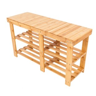 Check Prices Portable Flat Bamboo Splint 6 Pair Shoe Storage Bench By Rebrilliant