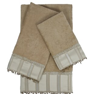 Cromwell Embellished 3 Piece 100% Cotton Towel Set