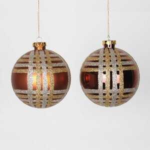 Glitter Plaid Shatterproof Christmas Ball Ornament (Set of 4)