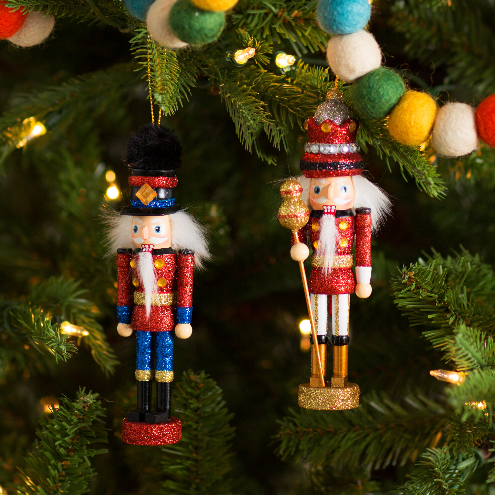 The Holiday Aisle 2 Piece King and Soldier Nutcracker Ornament Set ...