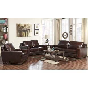 Red Barrel Studio Portsmouth 3 Piece Leather Living Room Set