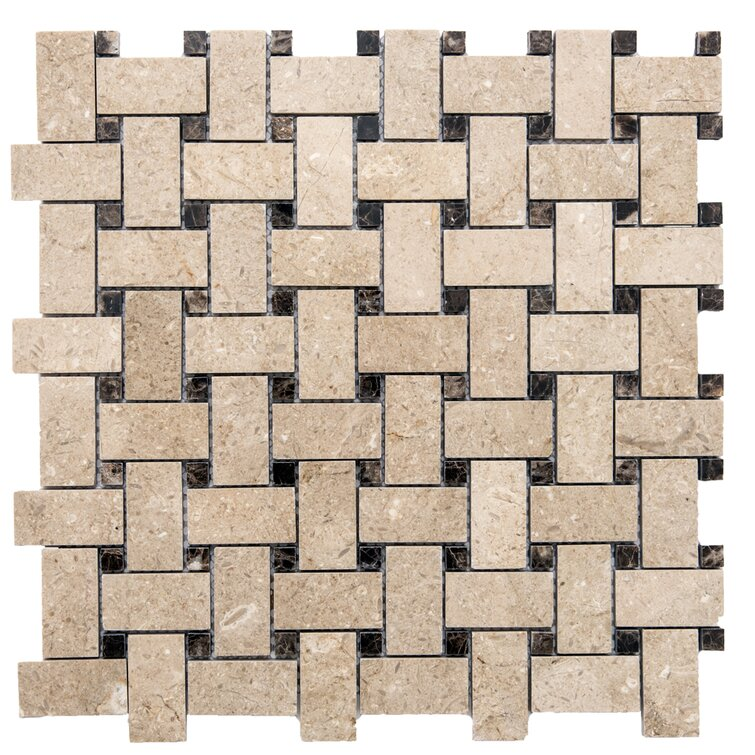 "Santorini 0.44"" x 0.88"" Marble Basketweave Mosaic Tile"