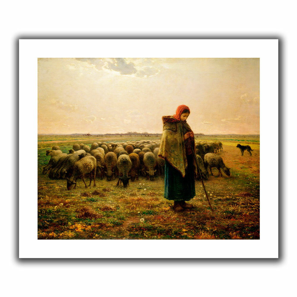 an analysis of the shepherdess and her flock by jean francois millet Artist: jean-françois millet (french, gruchy 1814–1875 barbizon) date: 1854– 55 medium: conté crayon and pastel on laid paper dimensions: 14 3/4 x 10 3/4 .