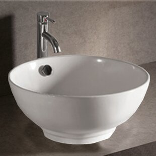 Isabella Ceramic Circular Vessel Bathroom Sink with Overflow by Whitehaus Collection