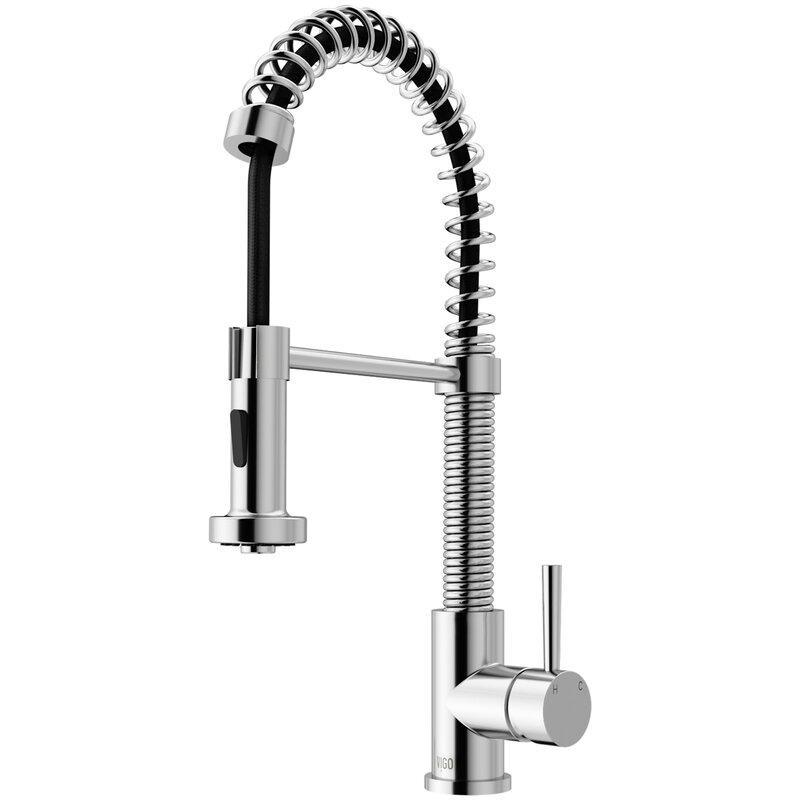 VIGO Edison Pull Down Single Handle Kitchen Faucet with Optional Soap Dispenser
