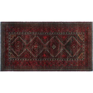 Deals One-Of-A-Kind Brook Hand-Knotted 2'9 x 5'2 Wool Red/Black Area Rug By Isabelline