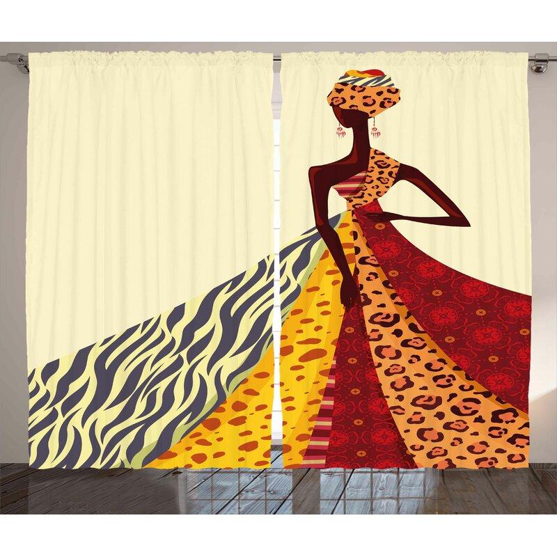 East Urban Home African Girl Décor Graphic Print Room Darkening Rod Pocket Curtain Panels Reviews Wayfair