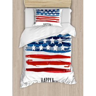 East Urban Home 4th of July Celebrating Background with Charming Stars Memorial Historic Digital Print Duvet Set