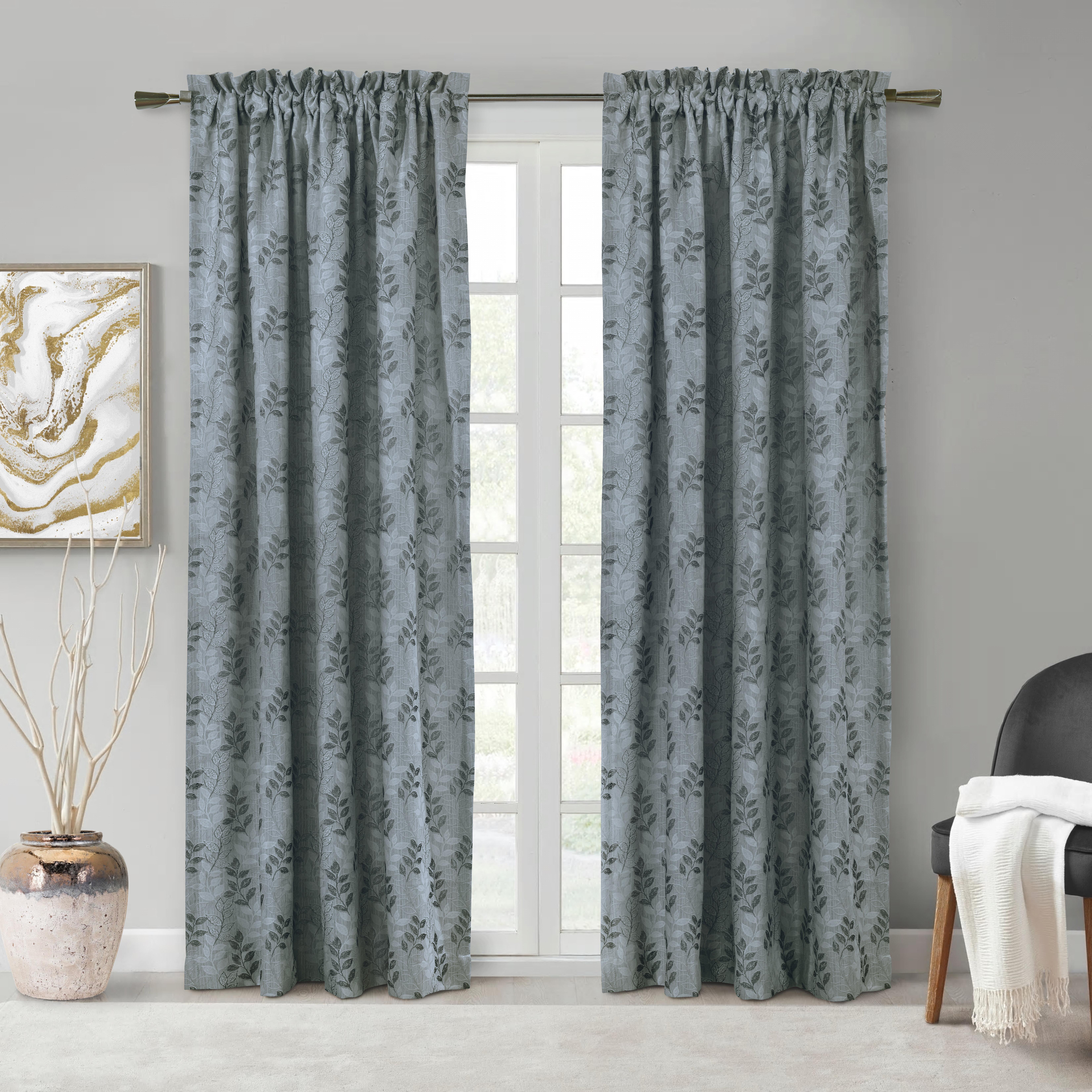 Gracie Oaks Ansonia Floral Room Darkening Rod Pocket Curtain Panels Reviews Wayfair