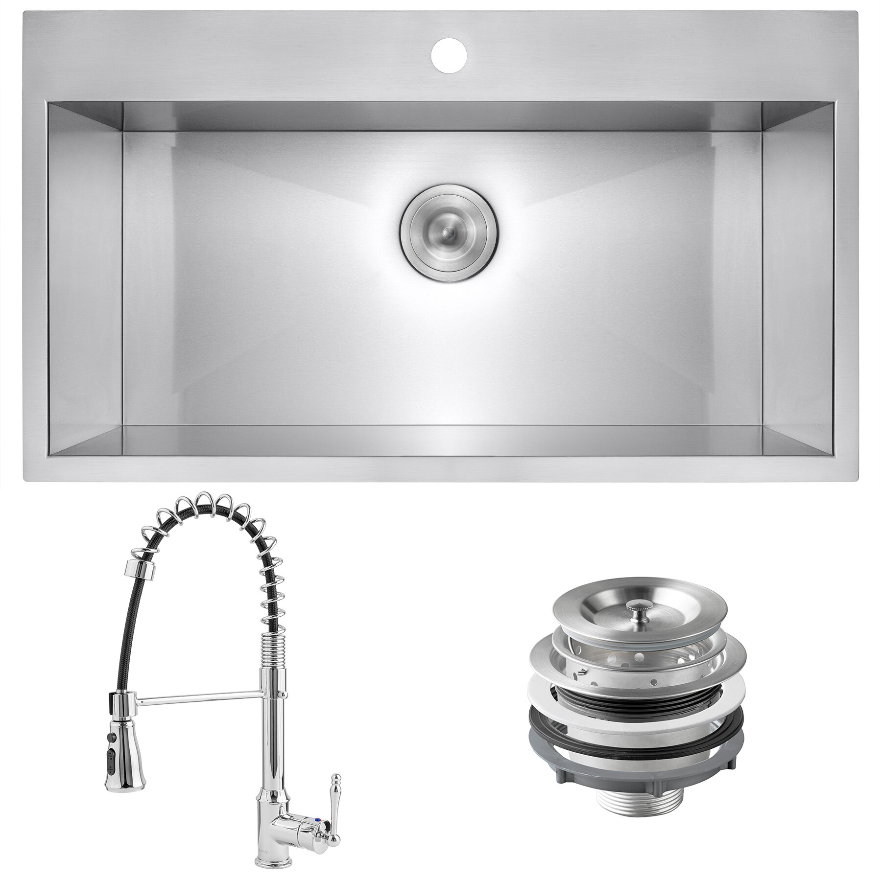 Akdy 33 X 22 Drop In Kitchen Sink With Faucet Wayfair