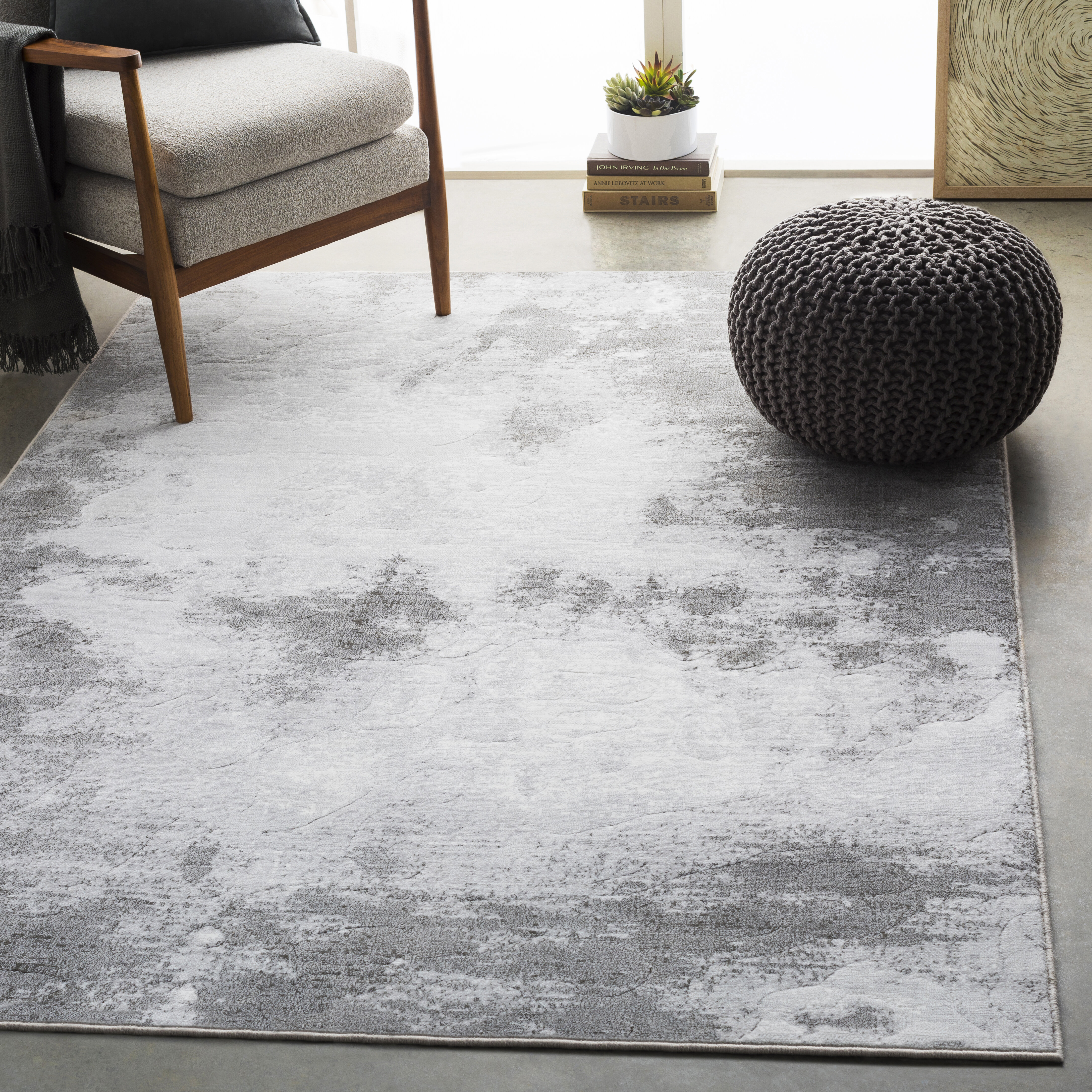 17 Stories Chamlee Abstract Light Gray White Area Rug Reviews Wayfair