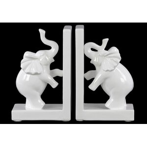 Standing on 2 Leg Trumpeting Elephant Book End