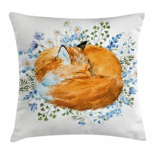 Fox Sleeping Fox Watercolors Square Pillow Cover
