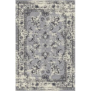 Lamberth Distressed Floral Gray Area Rug