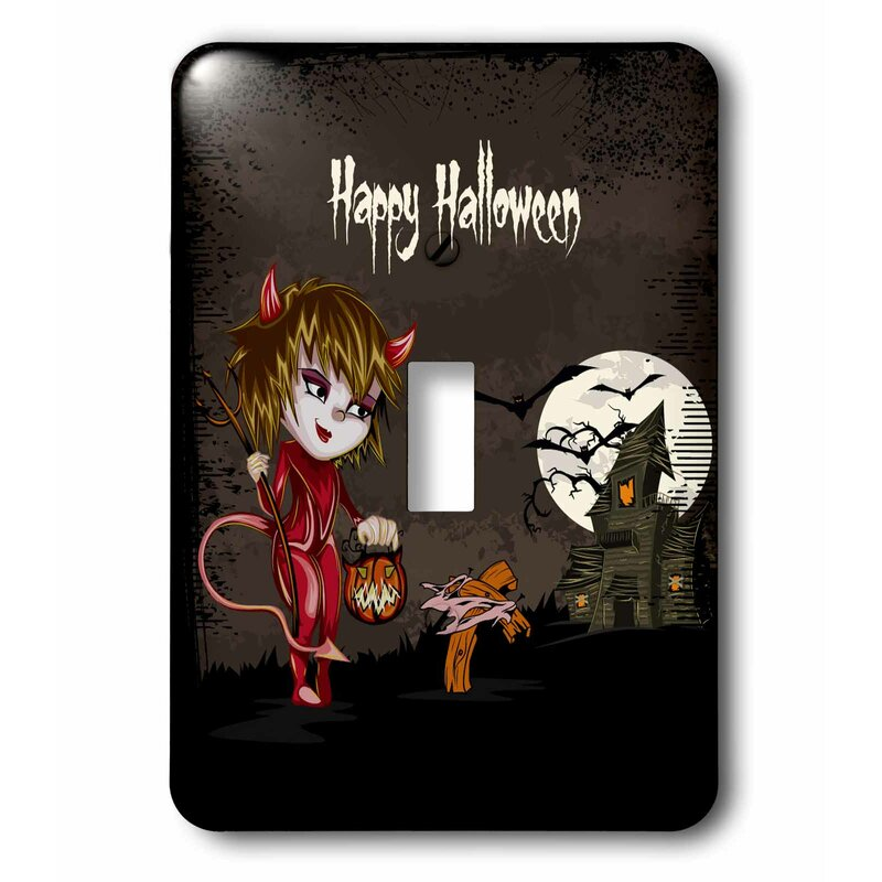 3drose Happy Halloween Devil Girl Trick Or Treating Haunted House Spooky Halloween Scene 1 Gang Toggle Light Switch Wall Plate Wayfair