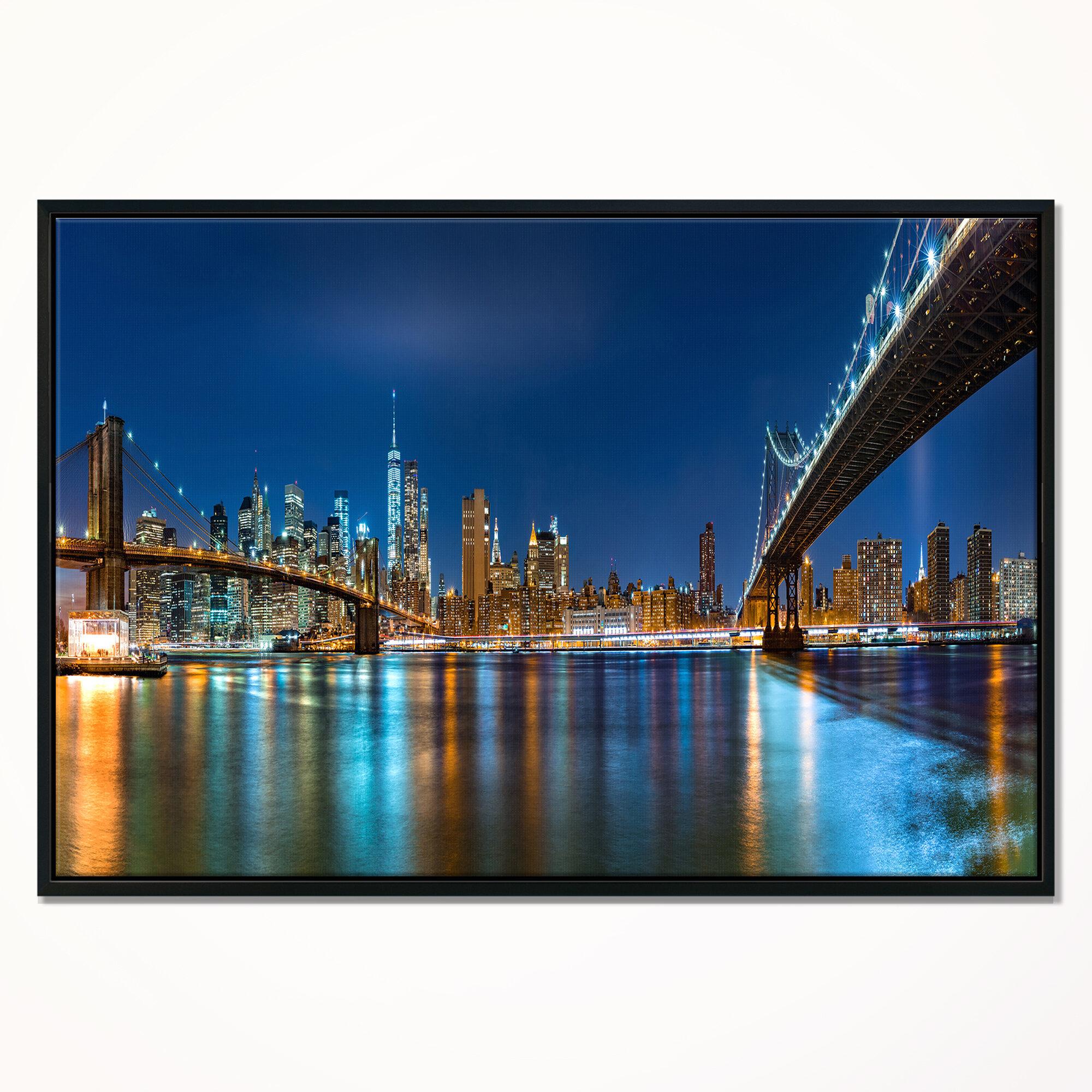 East Urban Home Brooklyn And Manhattan Bridges Night Framed Photographic Print On Wrapped Canvas Wayfair