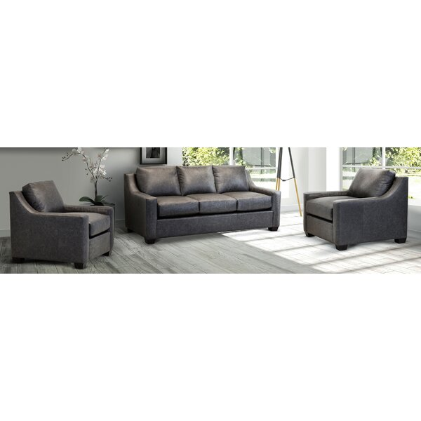 Made In Usa Blewett Distressed Grey Top Grain Leather Sofa And Two Chair
