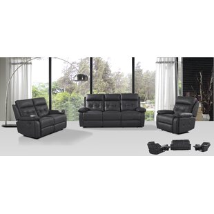 3 Reclining Piece Leather Living Room Set Attraction Design Home