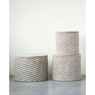 Imes Woven Water Hyacinth 3 Piece Nesting Tables
