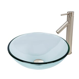 Coupon Crystalline Glass Circular Vessel Bathroom Sink with Faucet By VIGO