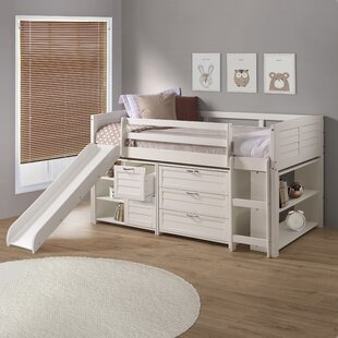 Twin Louvre Low Loft In White With Slide, 3 Drawer Chest, 2 Drawer Chest With Shelves And Bookcase