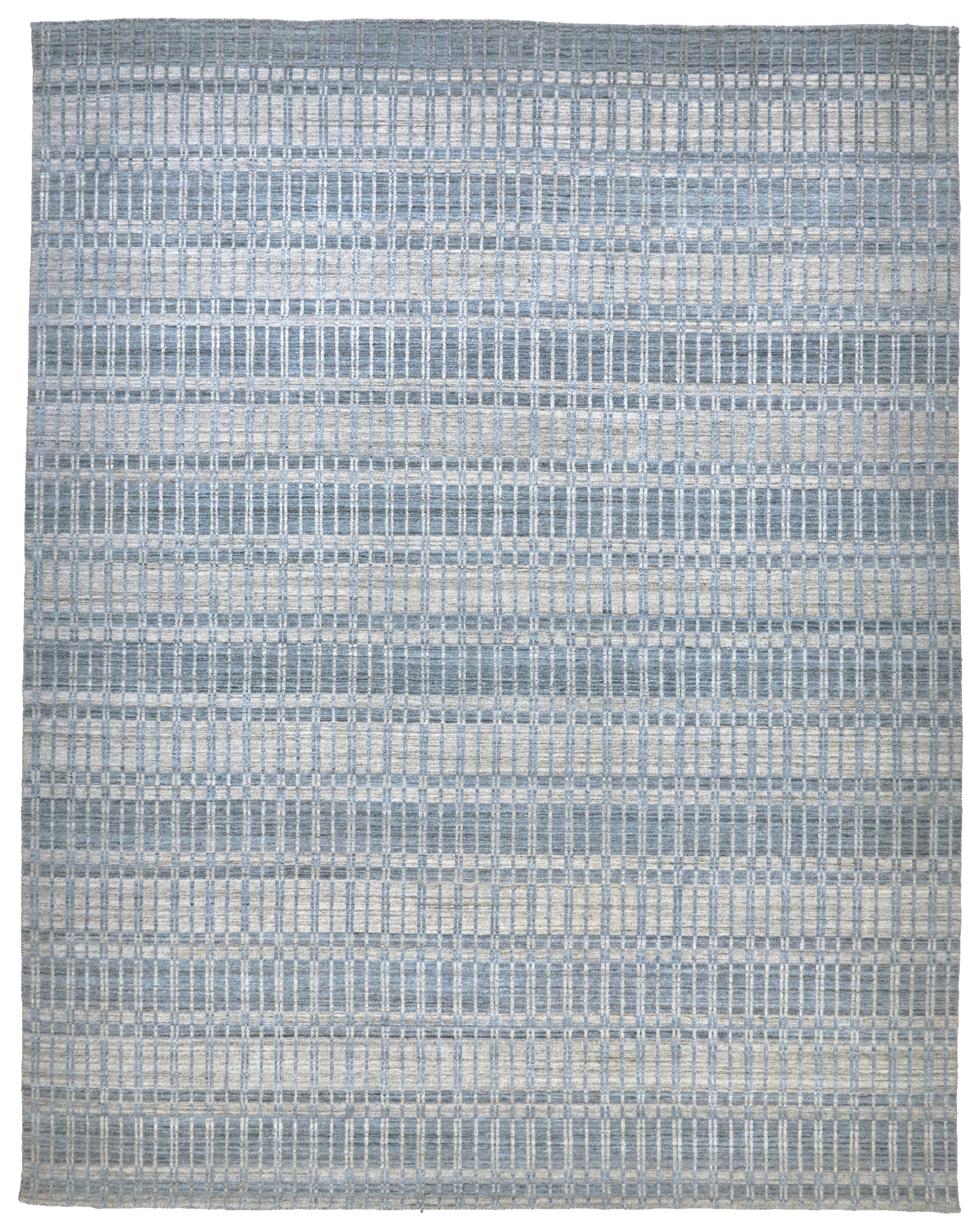 Orren Ellis Dellaposta Hand Woven Blue Silver Area Rug Wayfair