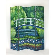 73 x 64 Hand Painted Double Sided 4 Panel Room Divider by Wayborn