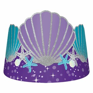 Mermaid Wishes Crowns Glitter Paper Disposable Party Hat (Set of 32)