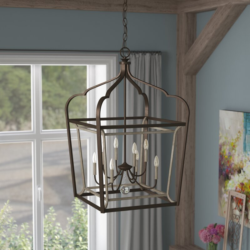 laurel foundry modern farmhouse evangeline 8 light foyer pendant