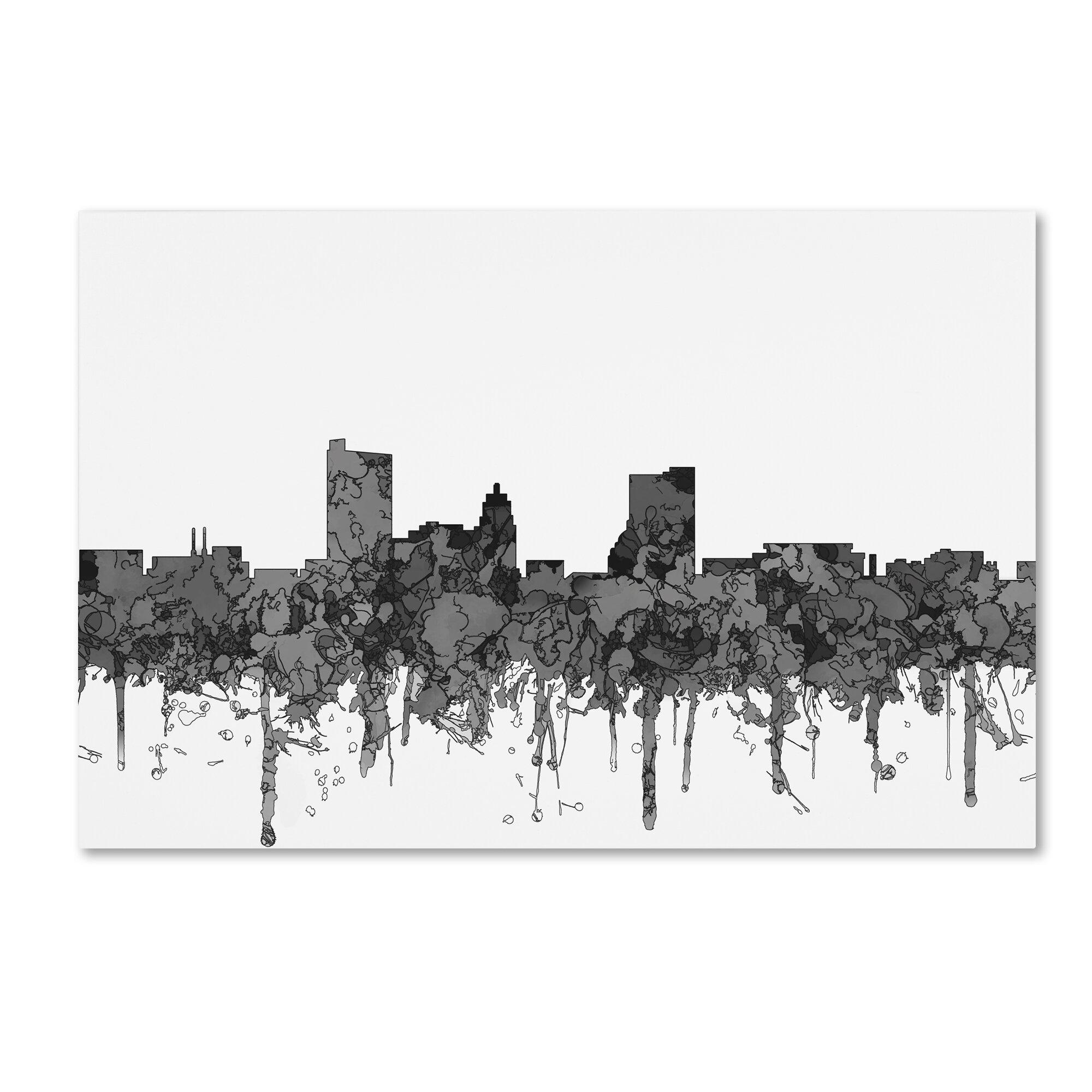 trademark art fort wayne indiana skyline bw graphic art print on