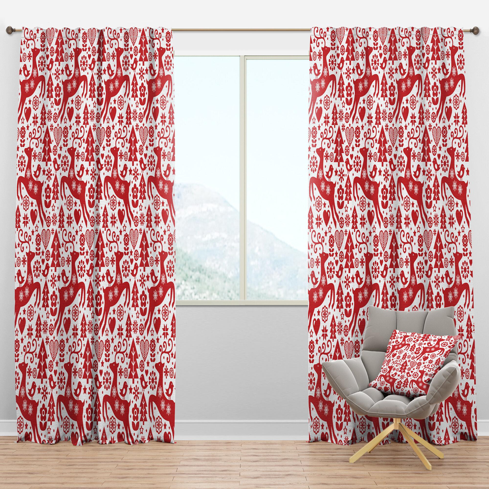 Designart Scandinavian Raindeed With Little Birds And Christmas Tree Floral Semi Sheer Thermal Rod Pocket Single Curtain Panel Wayfair