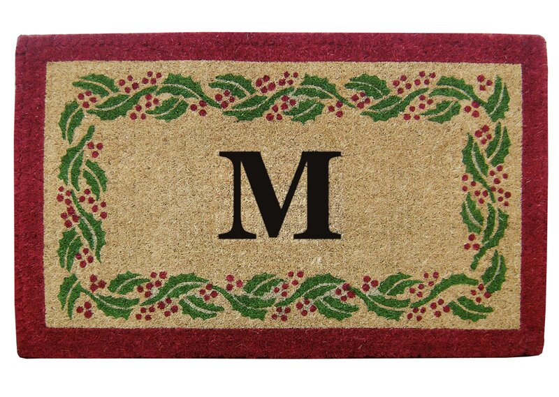 Holly Ivy Border Personalized Monogrammed 36 In. X 22 In. Non Slip Outdoor Door Mat by Nedia Home