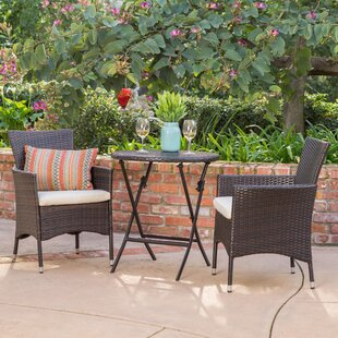 3 piece outdoor dining set bistro sousa piece bistro set patio dining sets youll love wayfair