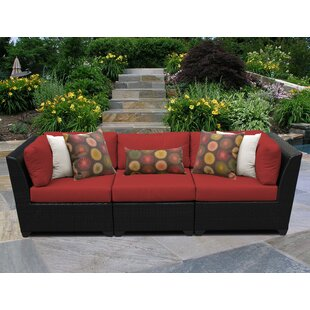 Medley Patio Sofa with Cushions by Rosecliff Heights