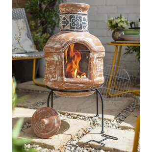 Blanca Clay Wood Burning Chiminea By Sol 72 Outdoor
